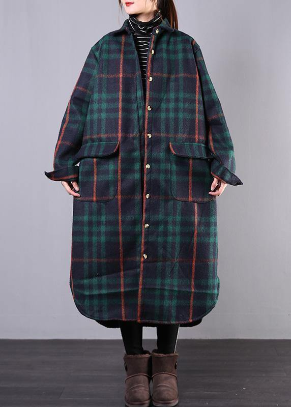 women green plaid wool overcoat plus size clothing Winter coat lapel pockets coats