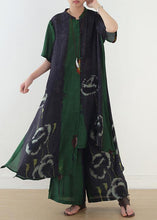 Load image into Gallery viewer, women green prints short sleeve shirt dress with elastic waist wide leg pants two pieces