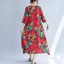 Load image into Gallery viewer, women khaki cotton blended maxi dress trendy plus size print Half sleeve long dresses New o neck cotton blended clothing