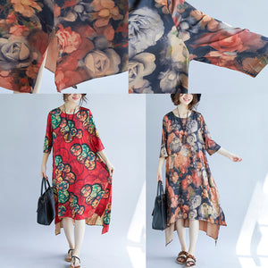 women khaki cotton blended maxi dress trendy plus size print Half sleeve long dresses New o neck cotton blended clothing