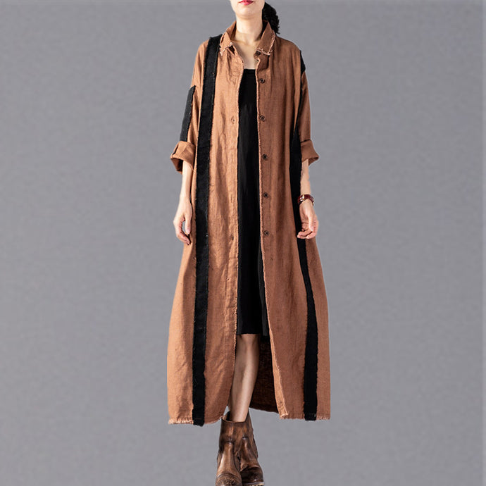 women khaki long coat Loose fitting patchwork pockets outwear New Turn-down Collar long coats