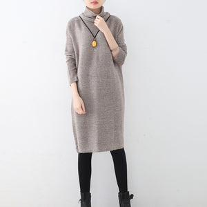 women khaki sweater dress fall fashion high neck fall dresses vintage hollow out fall dresses
