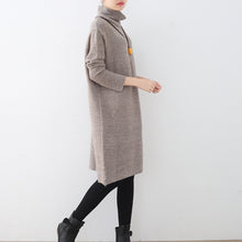 Load image into Gallery viewer, women khaki sweater dress fall fashion high neck fall dresses vintage hollow out fall dresses