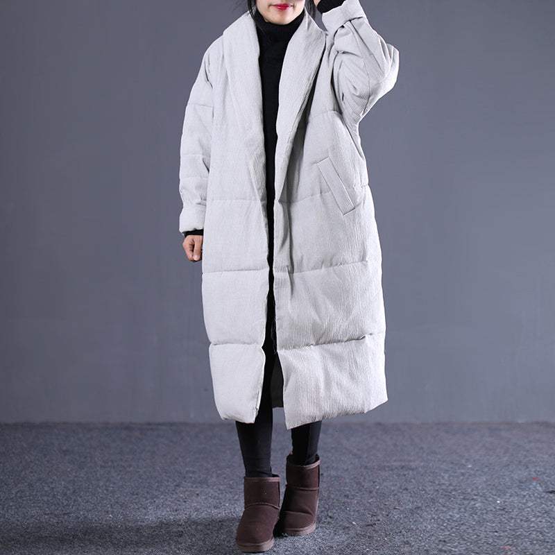 women light gray Winter Fashion Turn-down down Collar cotton overcoat top quality pockets overcoat