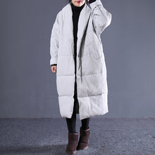 Load image into Gallery viewer, women light gray Winter Fashion Turn-down down Collar cotton overcoat top quality pockets overcoat