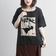 women linen blouse Loose fitting Casual Stripe Short Sleeve High-low Hem Embroidery Tops