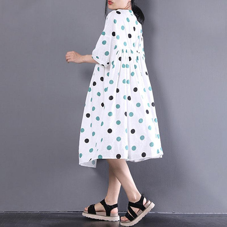women linen shift dress oversized Loose Short Sleeve Dots Printed White Pleated Dress