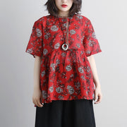 women linen tops Loose fitting Round Neck Casual Summer Short Sleeve Floral Red Blouse