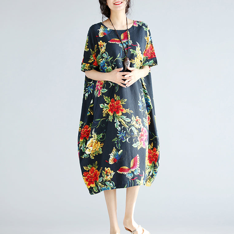 women navy linen shift dresses trendy plus size holiday dresses New short sleeve floral linen dress