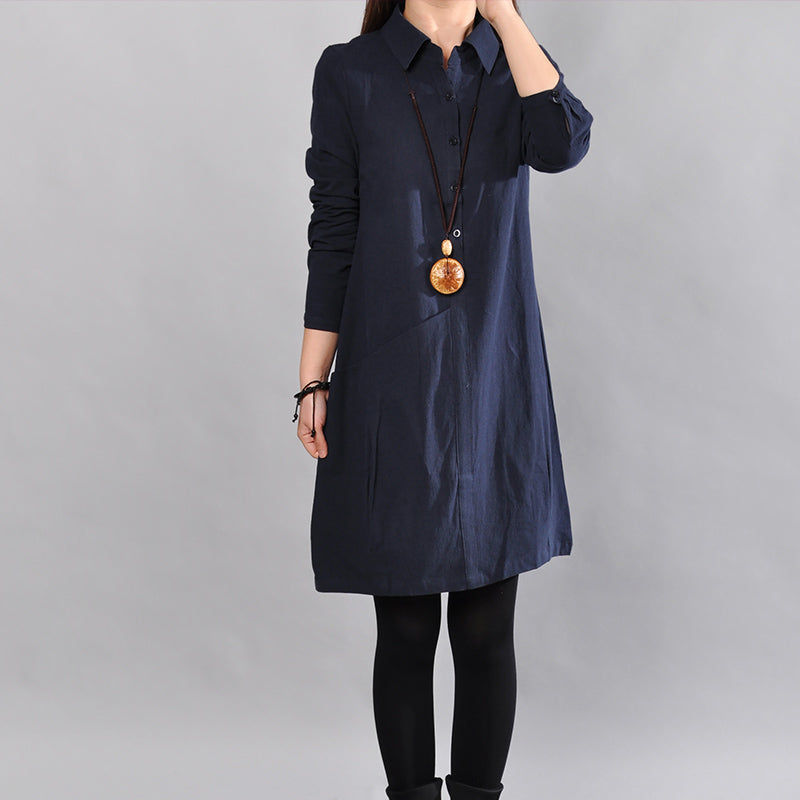 women navy pure linen dresses Loose fitting cotton maxi dress Fine big pockets long sleeve shirt dress