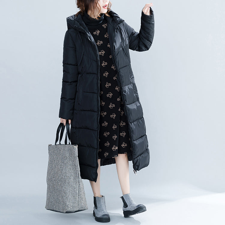 women new black trendy plus size hooded quilted coat women pockets zippered cotton coats