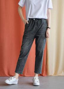 women new fall black gray cotton loose pants casual elastic waist jeans