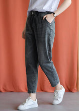 Load image into Gallery viewer, women new fall black gray cotton loose pants casual elastic waist jeans