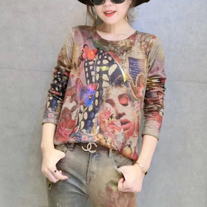 women new gold prints cotton sweater plus size wild o neck elastic knit sweater