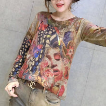 Afbeelding in Gallery-weergave laden, women new gold prints cotton sweater plus size wild o neck elastic knit sweater