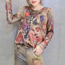 Load image into Gallery viewer, women new gold prints cotton sweater plus size wild o neck elastic knit sweater