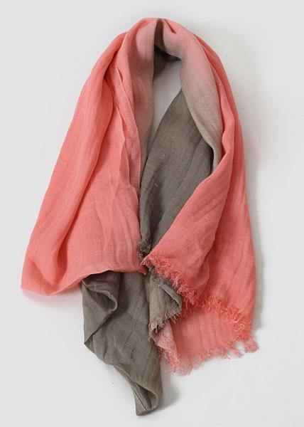 women new khaki pink double color Gradient scarf vintage warm scarves