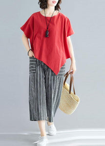 women new red casual asymmetric hem tops and striped crop pants