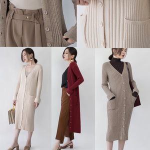 women nude Winter coat plus size V neck slim long coat New pockets cardigan coats