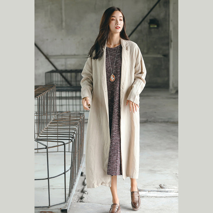 women nude long coat oversize Notched trench coat women side open baggy Coat