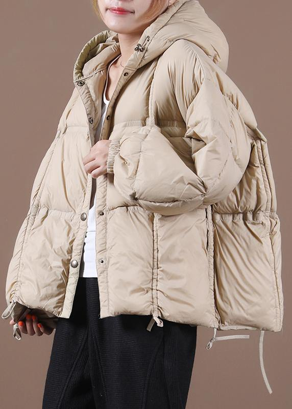 women nude warm winter coat Loose fitting down jacket hooded Button Down overcoat