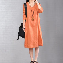 Load image into Gallery viewer, women orange linen dresses plus size clothing traveling clothing 2018 bracelet sleeved o neck cotton clothing