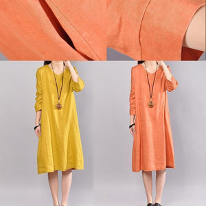 women orange linen dresses plus size clothing traveling clothing 2018 bracelet sleeved o neck cotton clothing