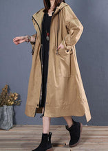 Load image into Gallery viewer, women oversize long winter coat fall khaki hooded low high design jackets