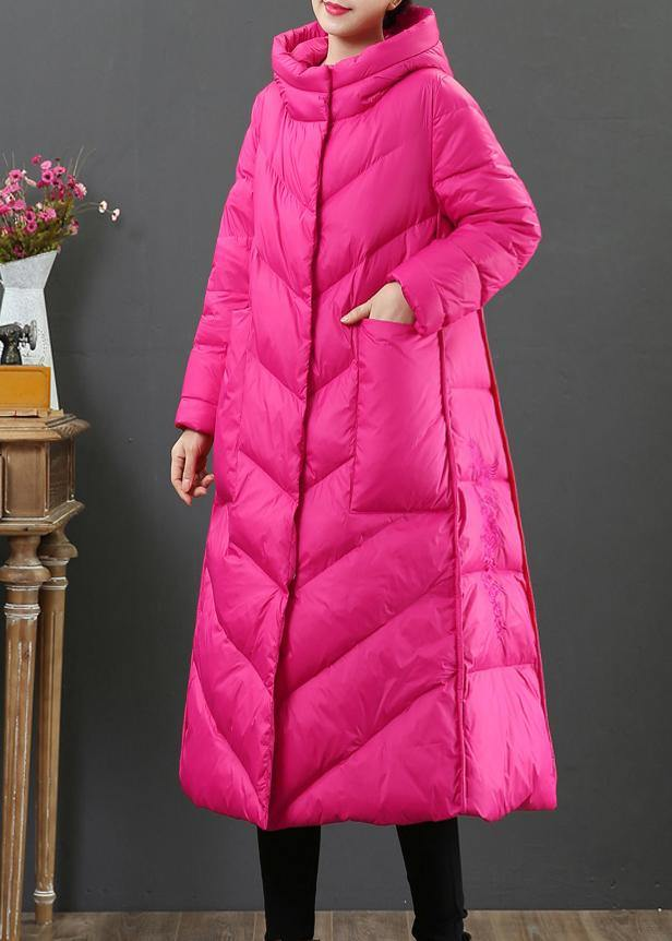 women oversize trench coat winter coat rose hooded pockets Woolen Coat