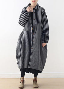 women oversize winter jacket POLO collar outwear gray striped patchwork thick women parka