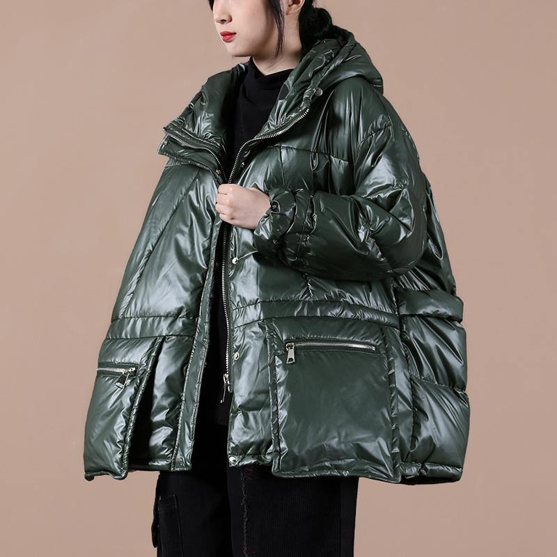 women oversize winter jacket coats blackish green hooded zippered down coat