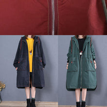 Load image into Gallery viewer, women oversized maxi coat fall green side open hooded Coats