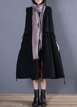 Load image into Gallery viewer, women oversized trench coat fall black hooded ruffles overcoat