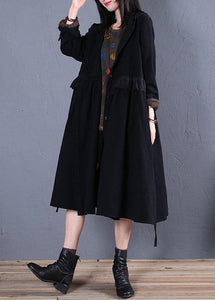 women oversized trench coat fall black hooded ruffles overcoat