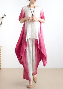 women pink o neck asymmetric tops +elastic waist wide leg pants