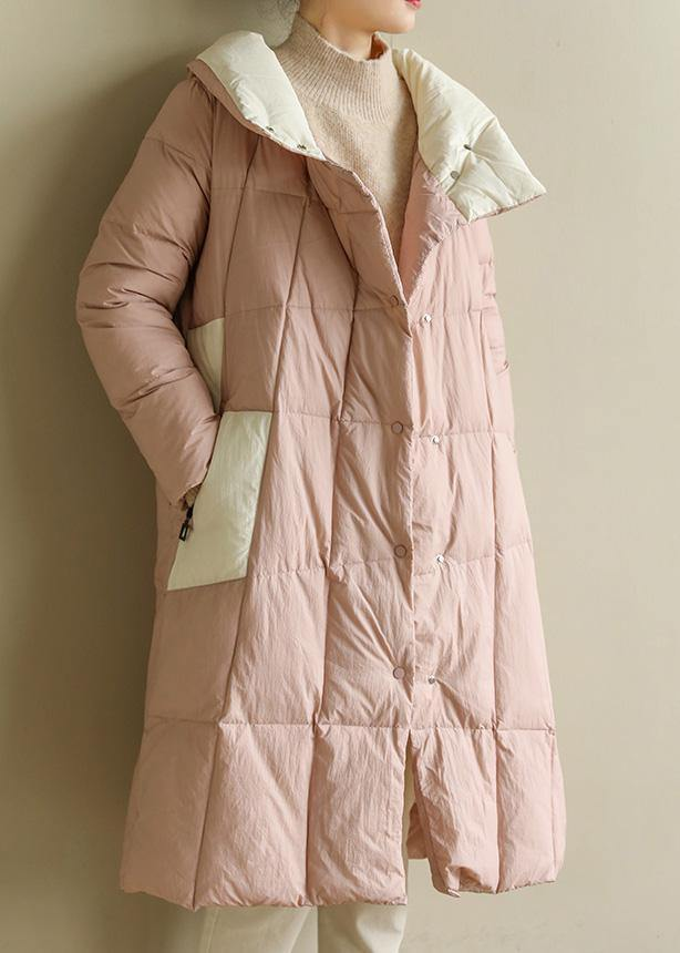 women pink warm winter coat plus size clothing patchwork womens parka stand collar top quality coats