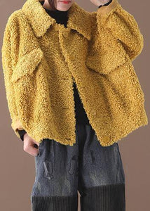 women plus size Coats yellow lapel Button Woolen Coats
