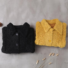 Load image into Gallery viewer, women plus size Coats yellow lapel Button Woolen Coats