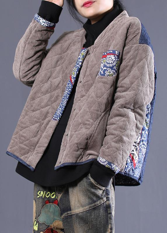 women plus size Jackets overcoat gray patchwork blue stand collar parkas