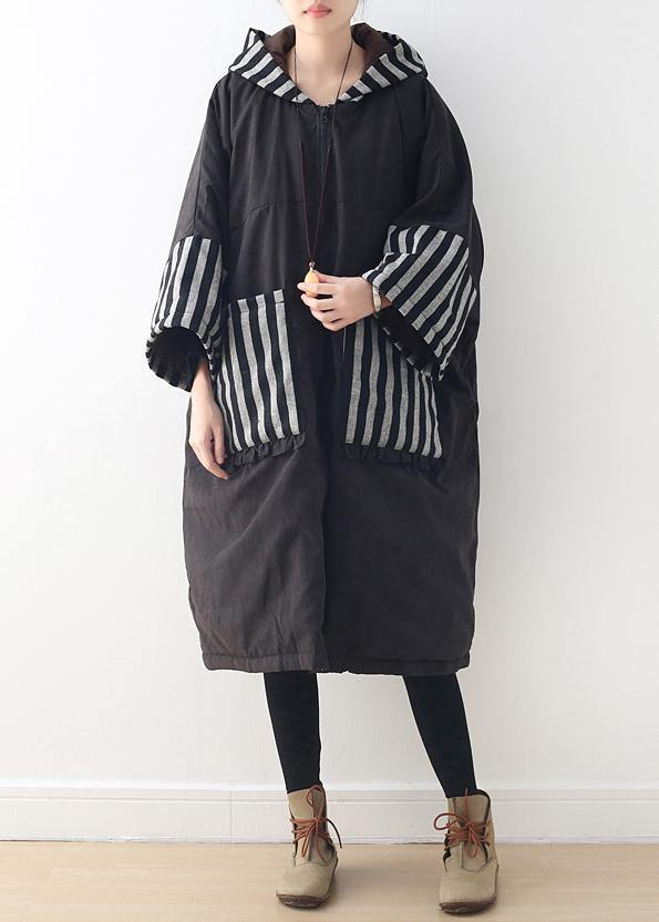 women plus size clothing warm winter coat hooded outwear black patchwork coats
