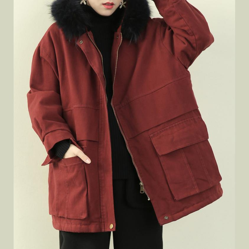 women plus size clothing winter jacket outwear red hooded faux fur collar overcoat