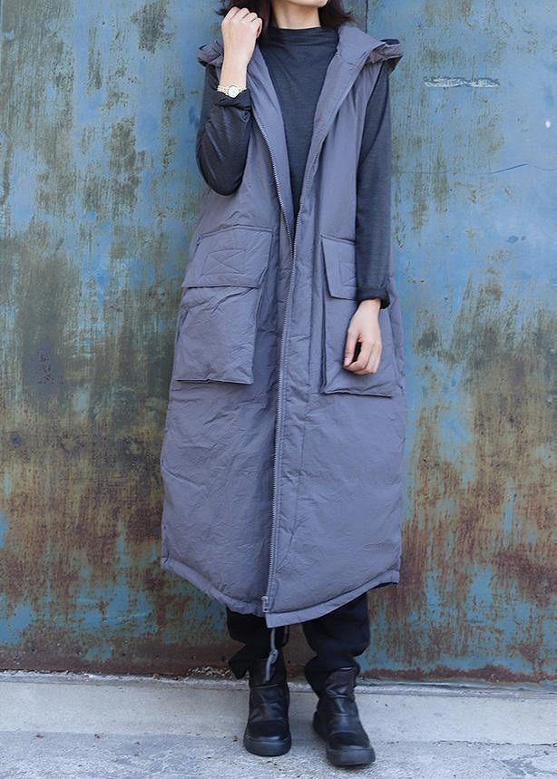 women plus size clothing winter jacket stand collar coats dark gray hooded sleeveless coats