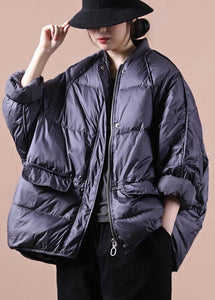 women plus size parka coats purple gray pockets zippered warm winter coat