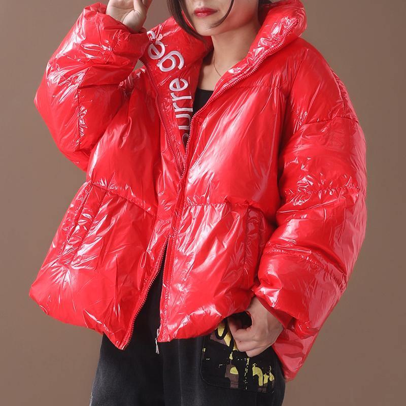women plus size snow jackets hooded coats red warm stand collar down coat winter