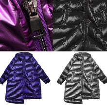 Load image into Gallery viewer, women plus size winter coats black hooded zippered womens parkas