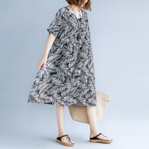 women print cotton linen dresses plus size clothing short sleeve baggy dresses New o neck traveling dress