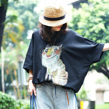 Load image into Gallery viewer, women pure cotton blouse casual Animal Printing Loose Casual Summer Women Blouse