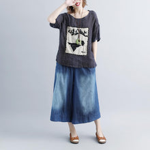 Load image into Gallery viewer, women pure linen tops oversized Casual Stripe Short Sleeve Embroidery High-low Hem Tops