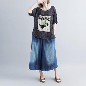 women pure linen tops oversized Casual Stripe Short Sleeve Embroidery High-low Hem Tops