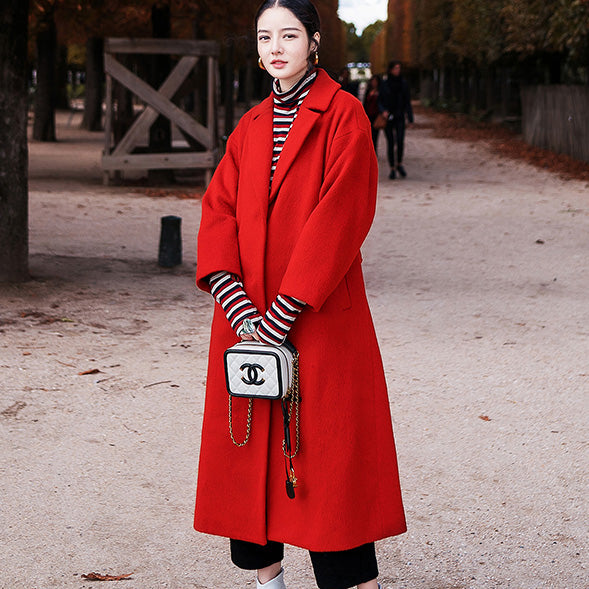 women red Winter coat plus size Notched Wool Coat vintage pockets tie waist wool jackets